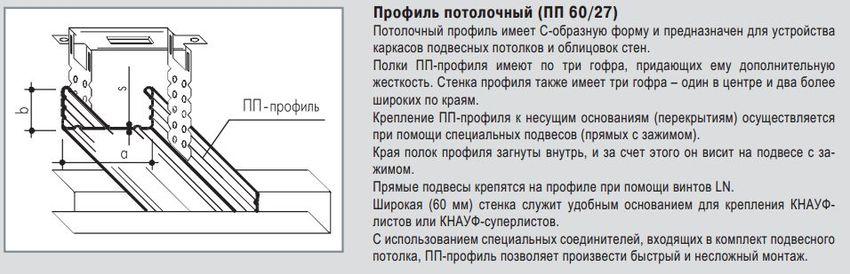 Профиль потолочный ПП 60х27 Кнауф 0.6 мм (3 м)