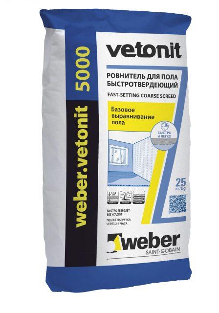 Vetonit 5000 ровнитель для пола быстротвердеющий (25кг) от 5 до 50 мм