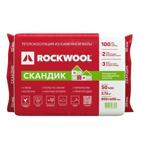 Утеплитель Rockwool Лайт Баттс Скандик, 800х600х50мм (12пл./5,76м2)