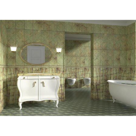 Панель ПВХ с фотопечатью Барокко зелёный декор 2700x250x9 мм